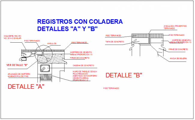 Section view of column and roof slab joint detail information dwg file