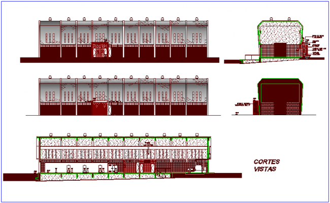 Section view of lift project dwg file