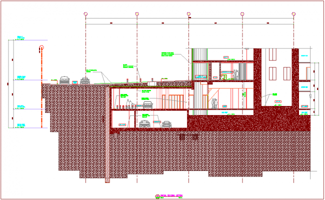 Section view of partial building of slab structural design dwg file