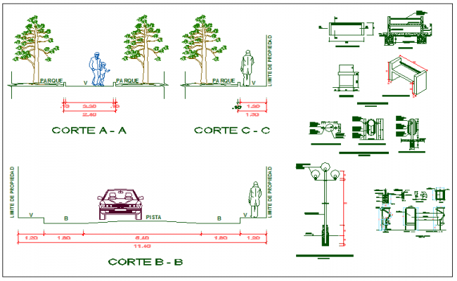 Section view of tree car furniture and other mechanical components dwg file