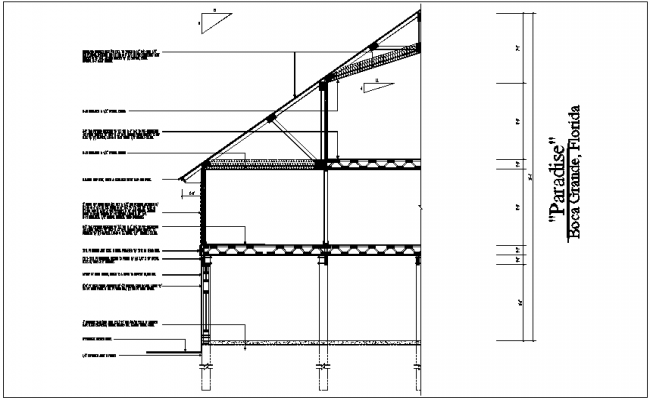 Section view of truss and floor with structural detail dwg file