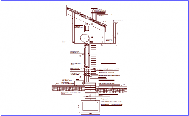 Section view of wall with construction view dwg file