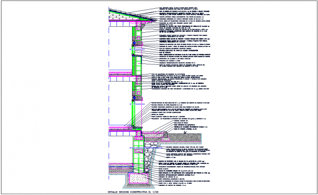 Section view with construction detail dwg file