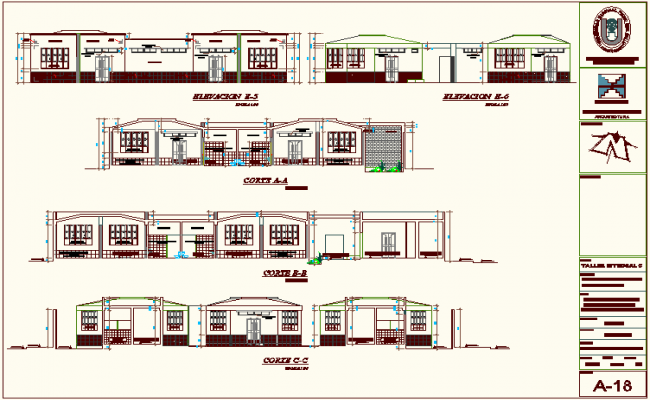 Section view with different axis and elevation of education building dwg file