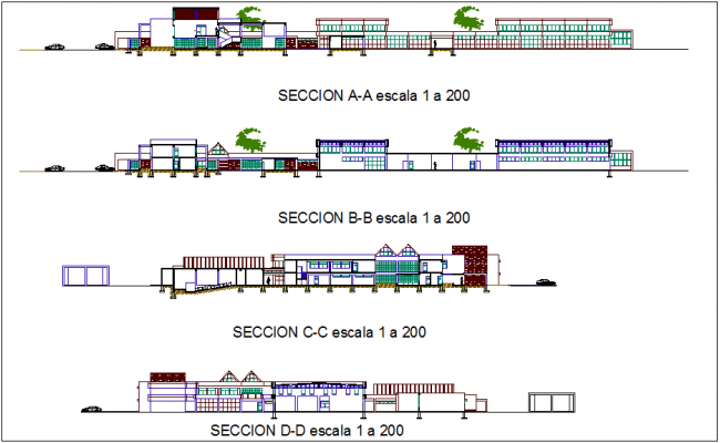 Section view with different axis of education building dwg file