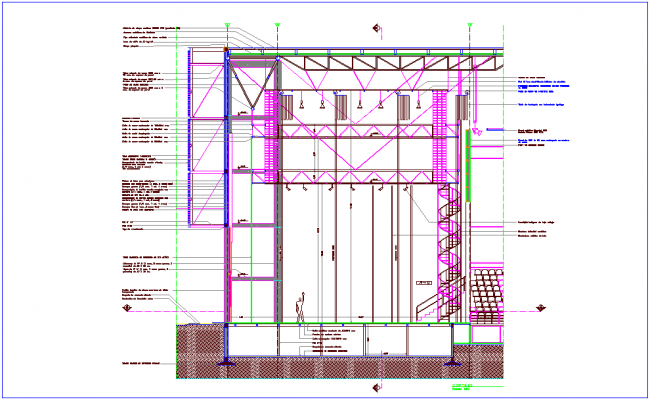 Section view with interior detail of stage dwg file