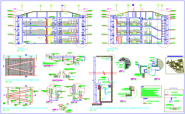 Section view with ventilation theater detail of biotechnology university dwg file