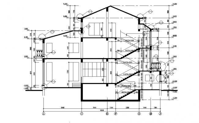 Section villa plan layout file