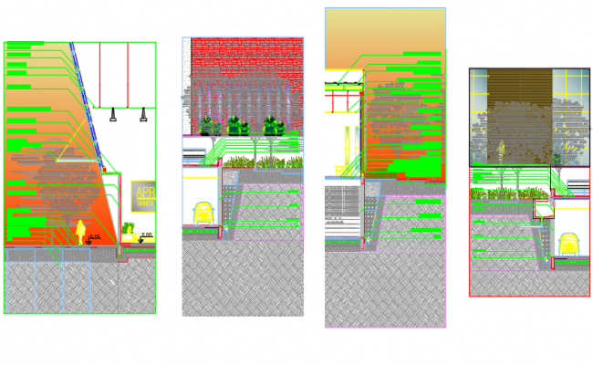 Section wall plan detail dwg file