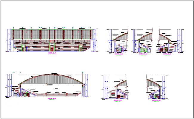 Section with different axis view for Coliseum building dwg file