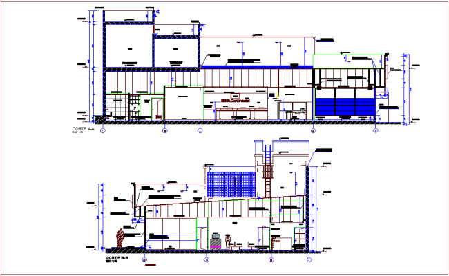 Section with different axis view for banking building  dwg file