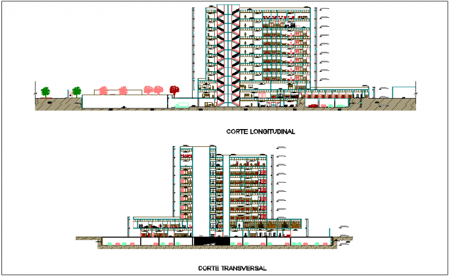 Section with different axis view for hospital building dwg file