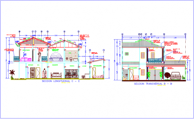 Section with different axis view for house building for two level dwg file