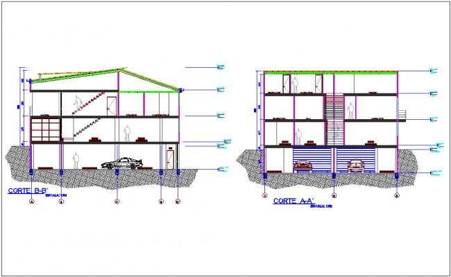 Section with different axis view for house building with office area dwg file