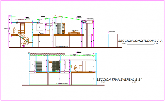 Section with different axis view for housing area dwg file