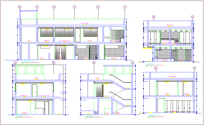 Section with different axis view for office building dwg file