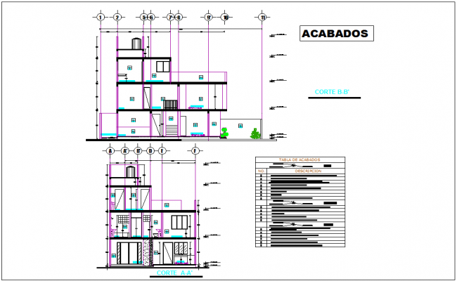 Section with different axis view for residence building for finishing plan dwg file