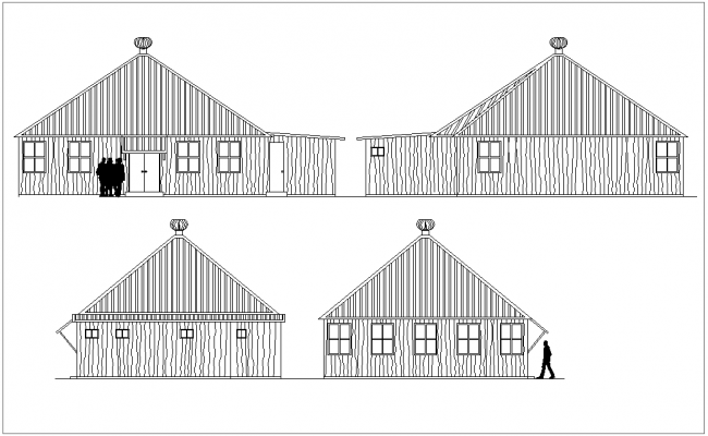 Section with different axis view for residential  building dwg file