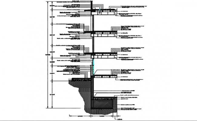 Section with finishes detail dwg file