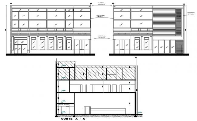 Sectional Elevation Of  Building DWG File