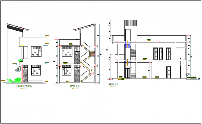 Sectional and elevation view of building dwg file