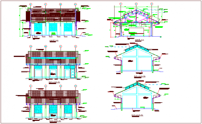 Sectional and elevation view of school dwg file