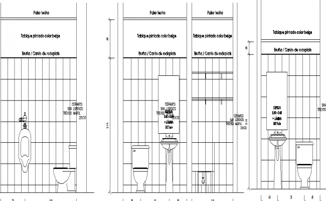 Front Elevation Of Wc : Sectional detail and elevation of a bathroom dwg file