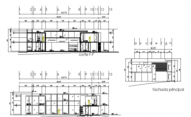Sectional detail and elevation of a building