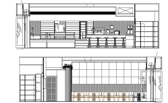 Sectional detail and elevation of a cafe dwg file