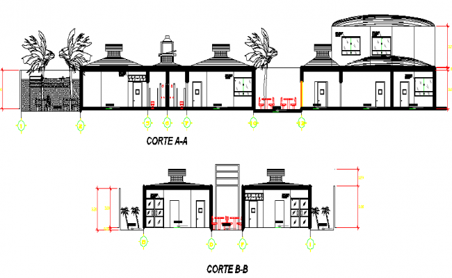 Sectional detail and elevation of a college dwg file