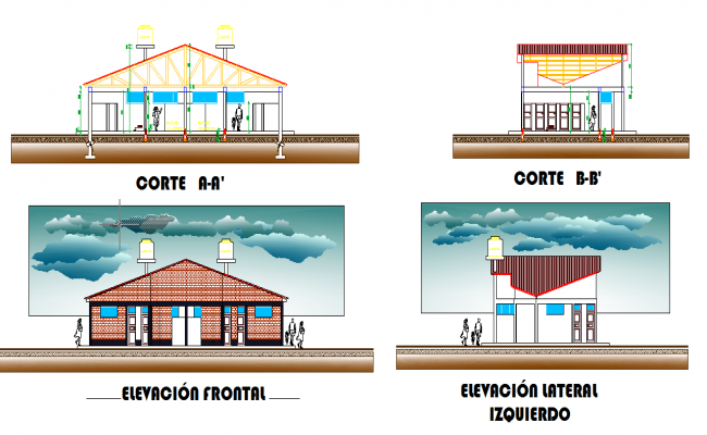Sectional detail and elevation of a school dwg file