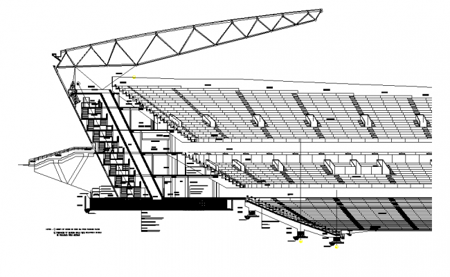 Sectional detail and elevation of a stadium