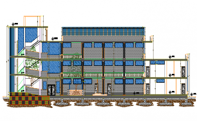 Sectional detail and elevation of a university  dwg file