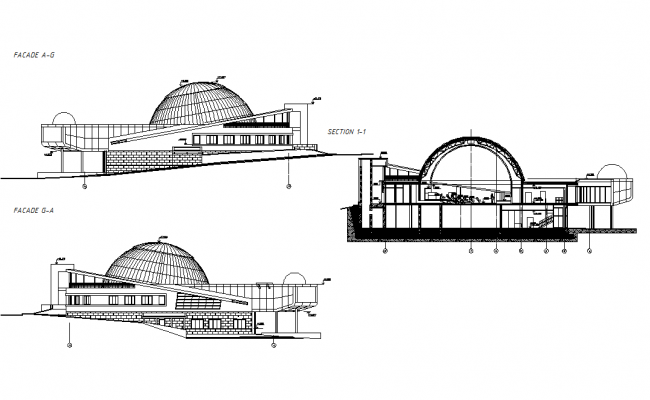 Sectional Detail And Elevation Of Auditorium Dwg File