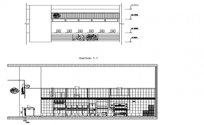 Sectional detail of a office room dwg file