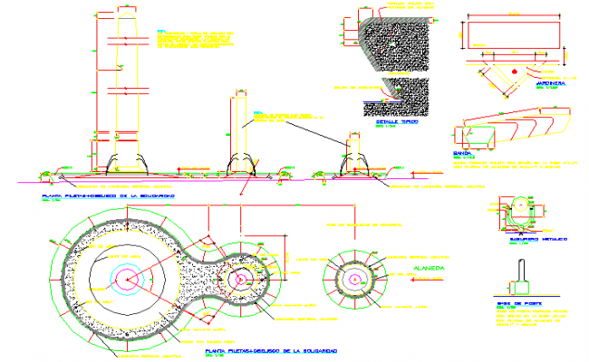 Sectional details of a  machinery and its elevation  dwg file