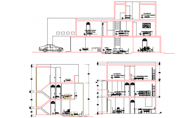 Sectional details of a bungalow dwg file