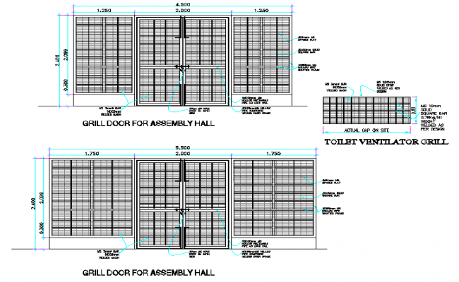 Sectional details of a door dwg file