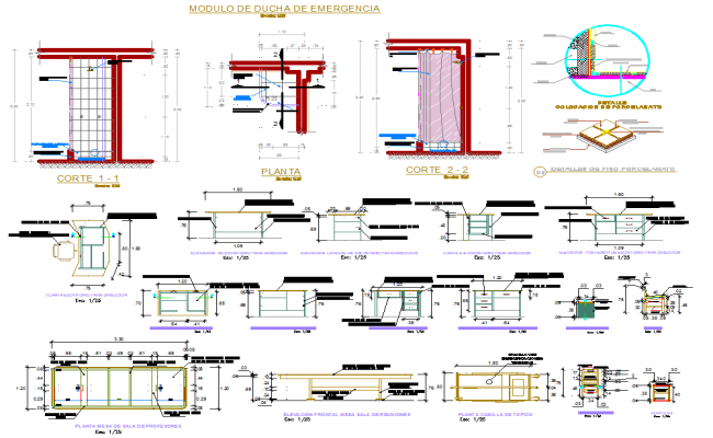 Sectional details of furniture dwg file