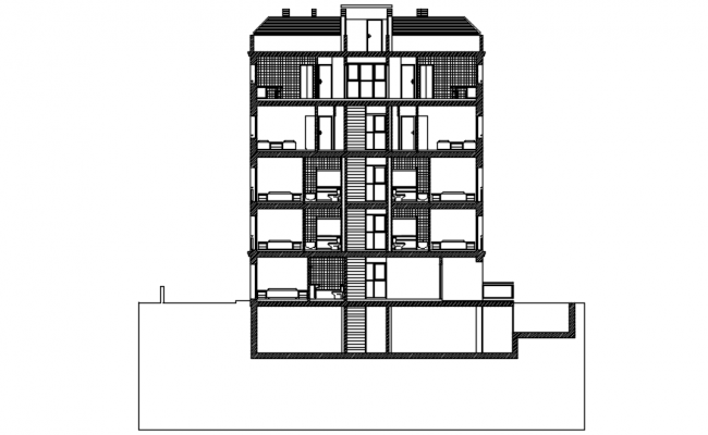 Sectional drawing of Apartment in dwg file