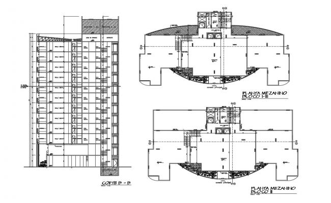 Sectional drawings details of building with floor plan dwg file