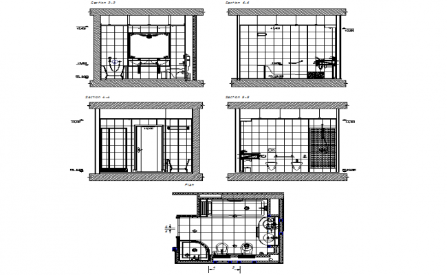 Sectional elevation design of bathroom dwg file