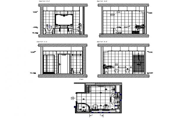 Sectional Elevation Design Of Bathroom Dwg File
