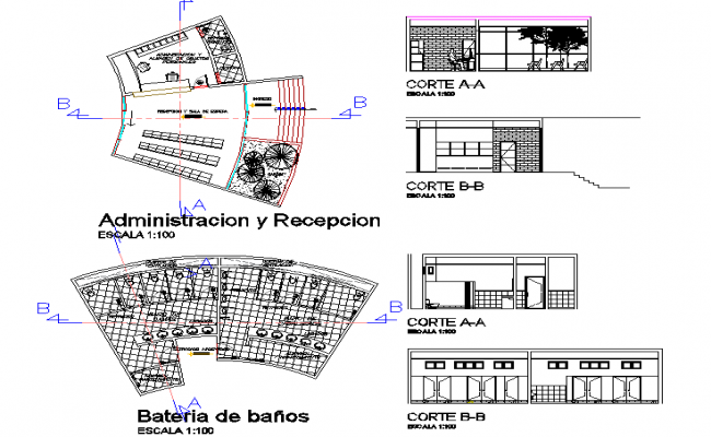 Sectional elevation of Research center and  layout plan dwg file