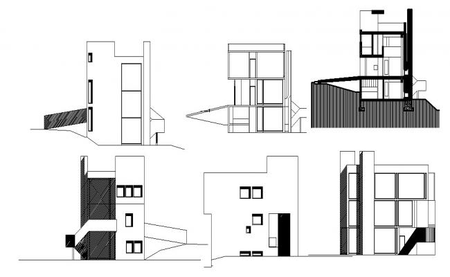 Bungalow Elevation Design In DWG File