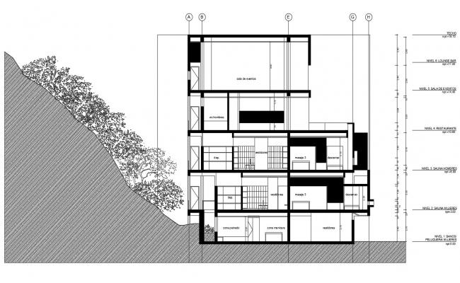 Sectional elevation of a commercial building in dwg file