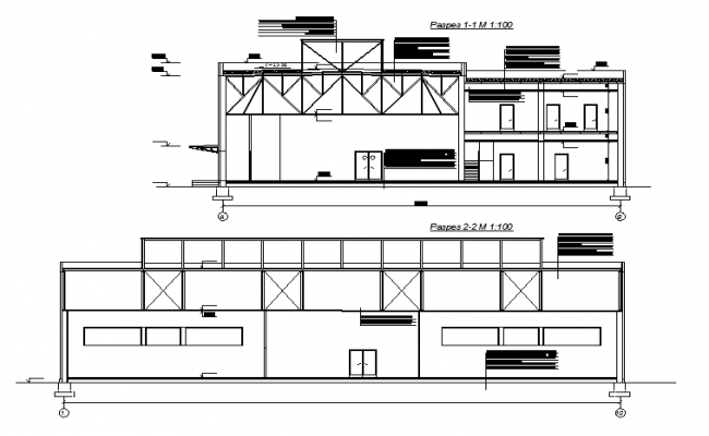 Sectional elevation of a posh building