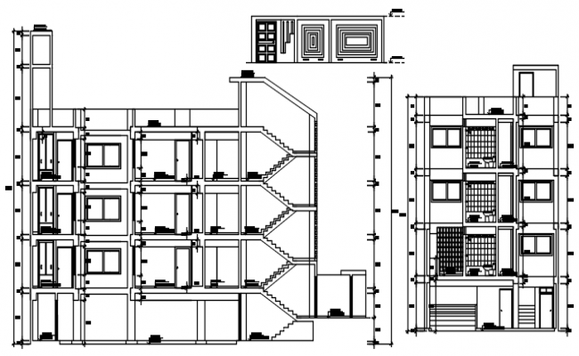 Sectional elevation of a residential apartment in dwg file