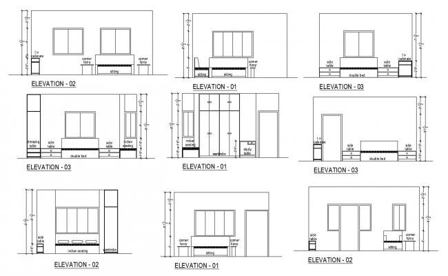 Sectional elevation of bedroom in autocad