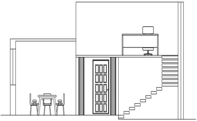 Sectional elevation of bungalow